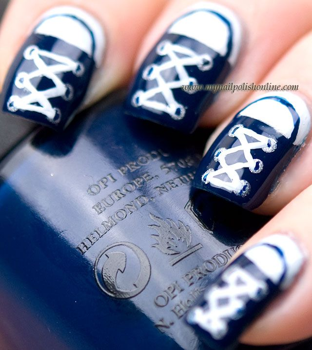 Best 25 converse nail art ideas on pinterest converse nails nail art converse good tip for square nailsturn the design prinsesfo Images