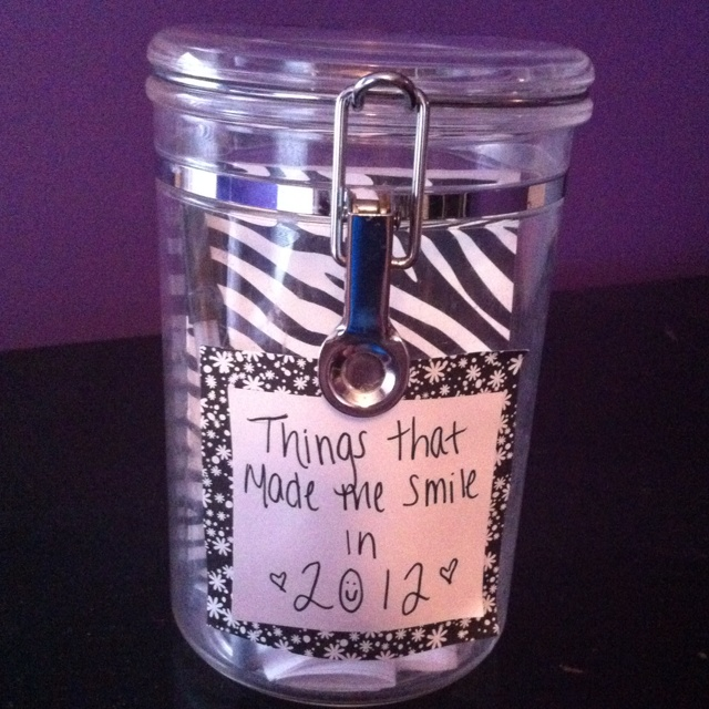 I saw an idea like this on Pinterest.. So I decided to make one... Keep a notepad and pen in a jar and everytime something makes you smile, or happy  write it down on the note pad and rip it out and fold it up and put it in the jar.. On new years eve, read all of the memories to see what a good year you had. :)