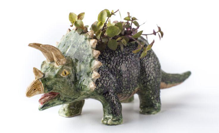www.astralobjetos.com Dinosaur. maceta de dinosaurio tricératops. Ceramica hecha a mano -  Handmade ceramic, ceramics, clay, pottery - ceramic pot, cute plant pot,  handmade pottery