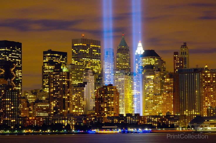 """The """"Tribute in Light"""" memorial is in remembrance of the events of Sept. 11, 2001. The two towers of light are composed of two banks of high wattage spotlights that point straight up from a lot next to Ground Zero. This photo was taken from Liberty State Park, N.J., Sept. 11, the five-year anniversary of 9/11. Photographed by U.S. Air Force Denise Gould."""