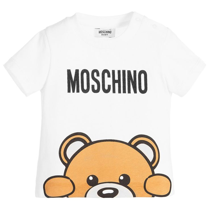 Pale ivory, soft cotton jersey t-shirt by Moschino Baby, suitable for both baby boys and girls. It has a logo print with a teddy bear peering over the hem at the front. There are poppers to fasten on the shoulder for easier dressing.