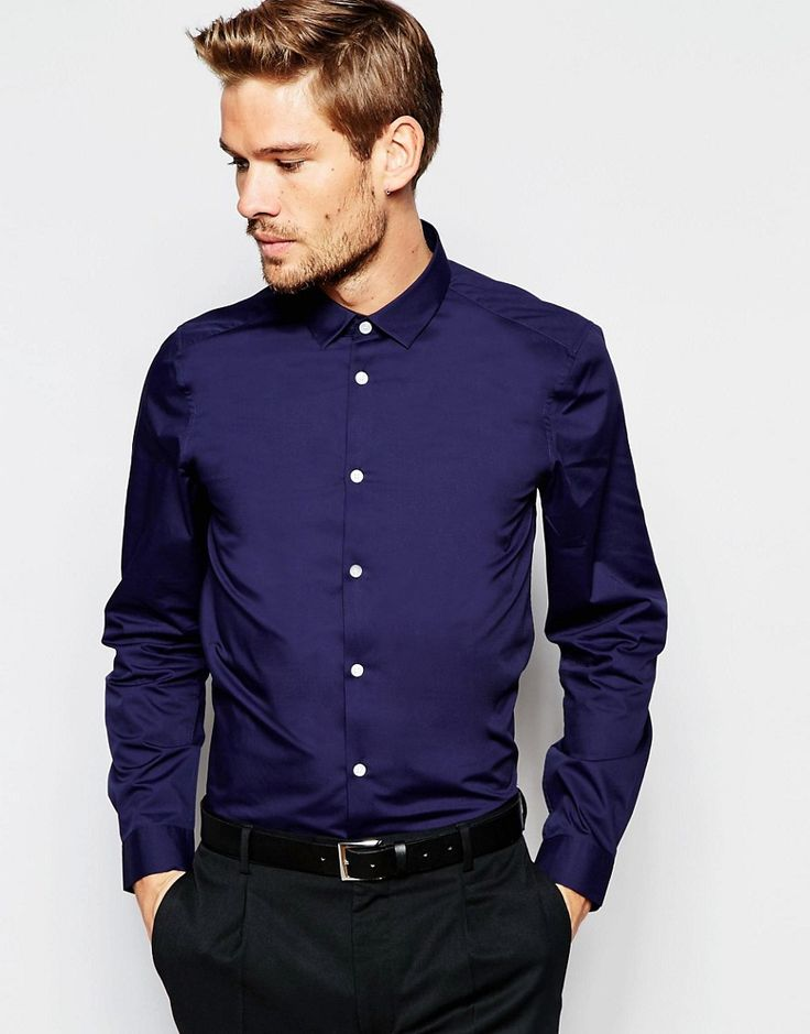 ASOS+Smart+Shirt+In+Navy+With+Long+Sleeves+In+Regular+Fit