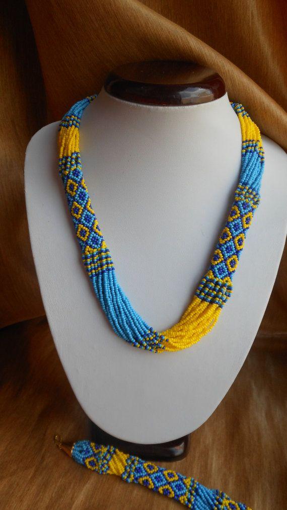 Con cuentas azul amarillo bandera ucraniana ucraniana collar