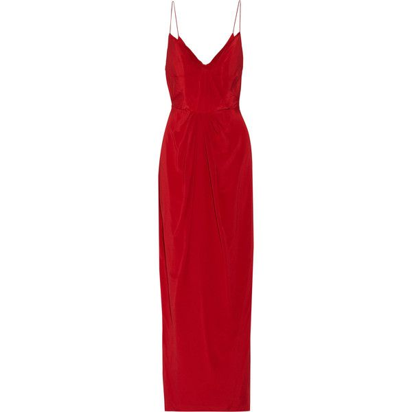 Zimmermann Gathered silk-satin maxi dress (4,470 EGP) ❤ liked on Polyvore featuring dresses, crimson, crimson dress, shirred maxi dress, shirring dress, crimson red dress and shirred dress