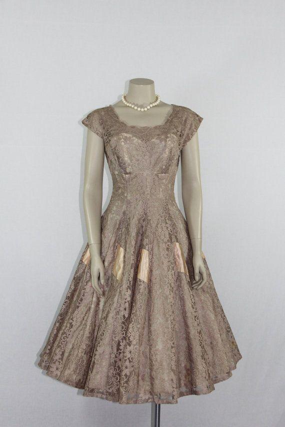 1950's Vintage Dress Mocha Lace Full by VintageFrocksOfFancy
