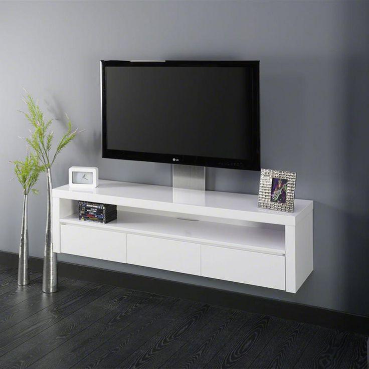 17 meilleures id es propos de meuble tv blanc laqu sur for Meuble tv suspendu 120 cm