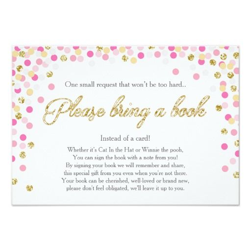 428 best book themed baby shower invitations images on pinterest baby shower bring a book pink gold glitter girl card filmwisefo Choice Image