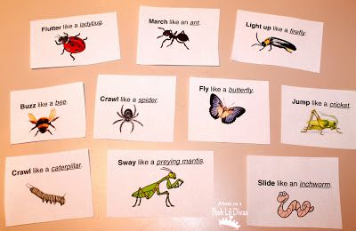 From Mom to 2 Posh Lil Divas: Insect and Bug Themed Movement Game. Pinned by Pediatric Therapeutic Services, Inc. Follow our blog at http://pediatrictherapeuticservices.wordpress.com/
