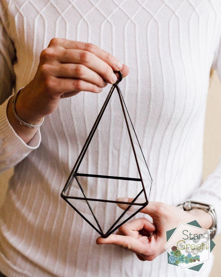 Геометрический флорариум ручной работы в витражной технике Тиффани.  Florarium pyramid Hanging pyramid пирамида подвесная пирамида декор  decor Geometric terrarium