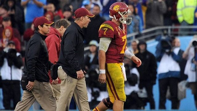 USC vs. UCLA: Trojans' Quarterback Matt Barkley Injured    It was like a punch in the stomach when he didn't get up. Read more: http://www.rantsports.com/ncaa-football/2012/11/17/matt-barkley-injured-in-usc-ucla-game/#