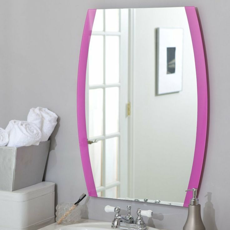 Décor Wonderland Jessica Wall Mirror   X In.   A Curved, Silk Screened Pink  Border Gives The Jessica Wall Mirror A Unique Finishing Touch.