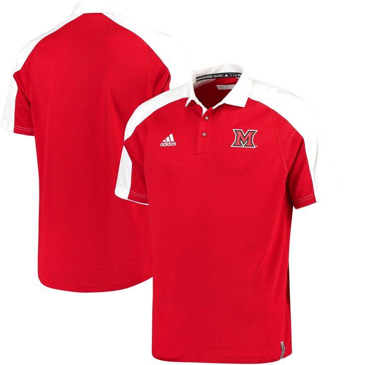 Miami University RedHawks adidas 2016 Football Coaches Sideline climalite Polo - Red/White - $51.99