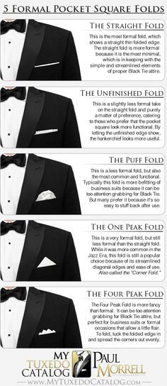 5 Formal Pocket Square Folds | best stuff #pocketstylecanada #pocketsquare #squareswag