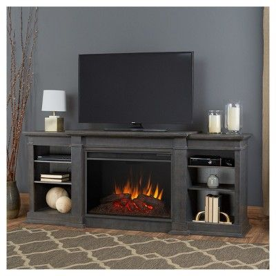 Eliot Grand Electric Fireplace Entertainment Center - Antique Gray - Real Flame, Grey