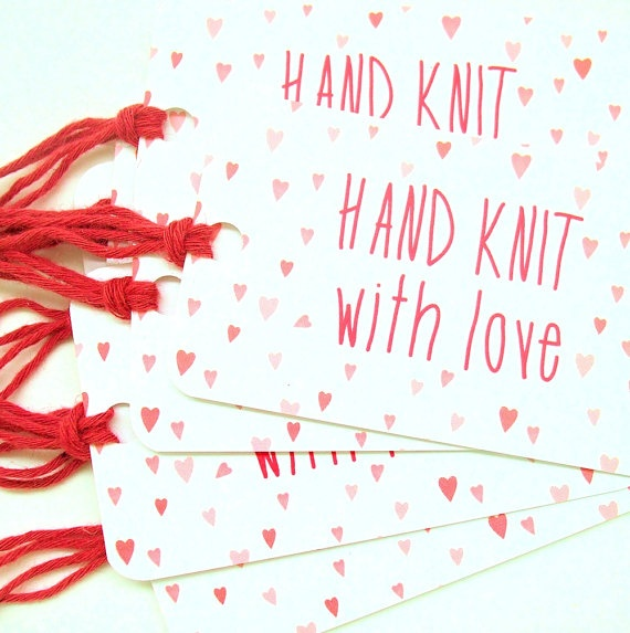 Valentine Knitting Gift Tags for Hand Knits / Fiber Care Tags by kNotesforkNitters