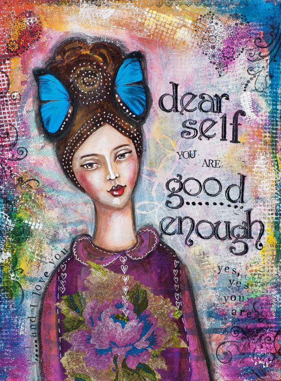 I am Good Enough Mixed Media Art Inspirational by LadyArtTalk