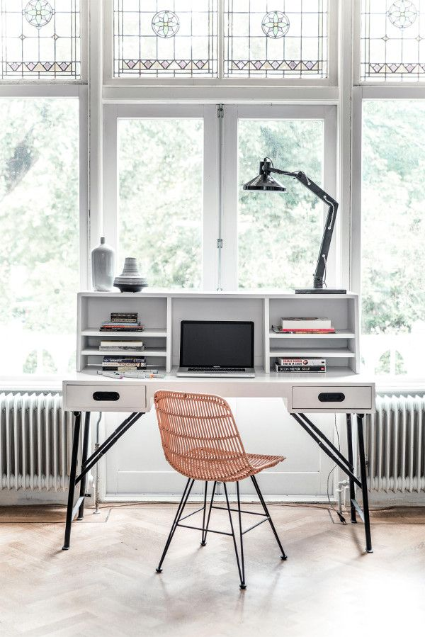 Perfect desk looking out large windows.