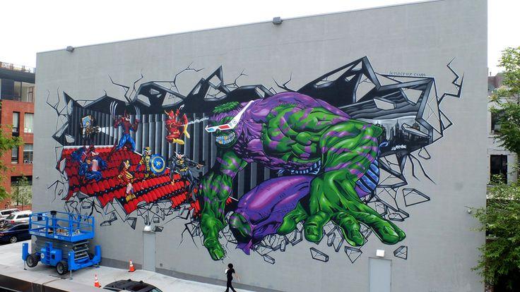 Artist Federico Massa aka Cruz painted this Marvel mural on the Williamsburg Cinemas in Brooklyn.
