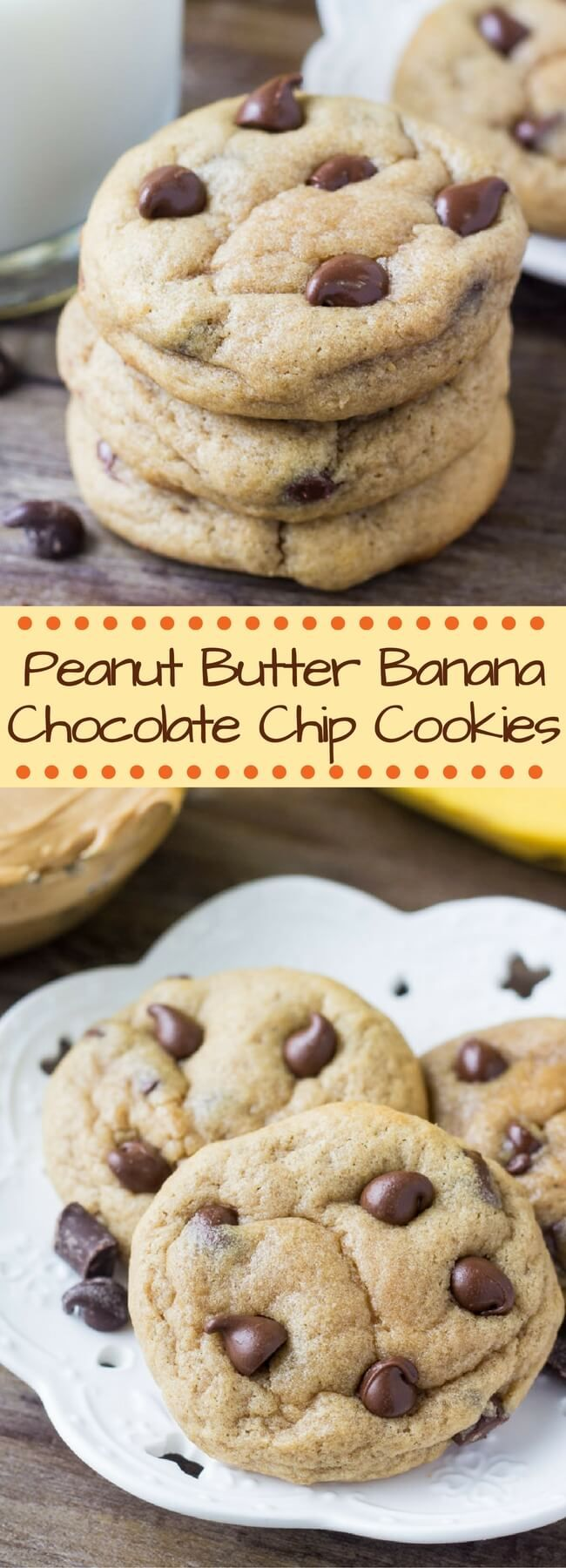 These Peanut Butter Banana Chocolate Chip Cookies are soft, chewy, a little gooey & packed with flavor. Seriously, the best way to use up ripe bananas!