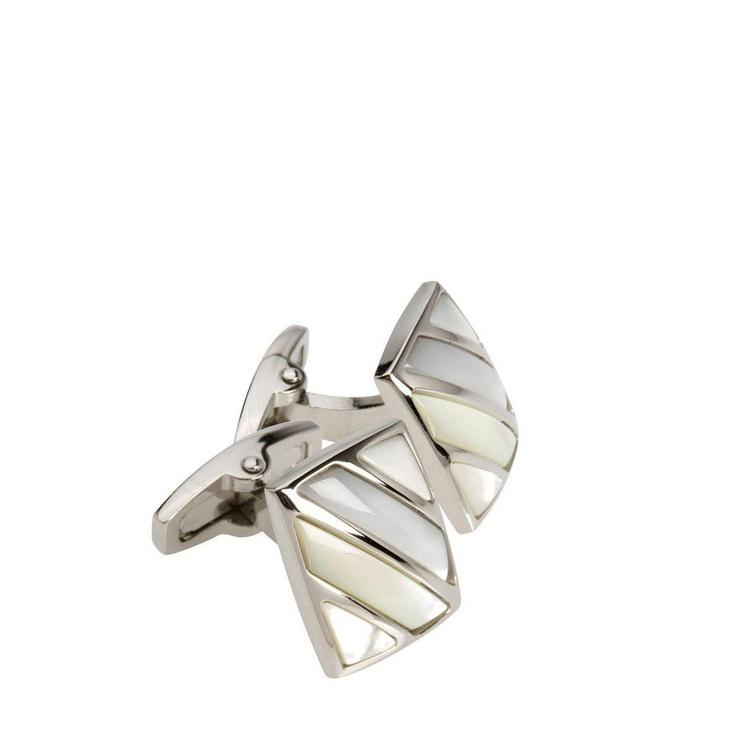 Oroton Charles Pearl Striped Cufflinks.