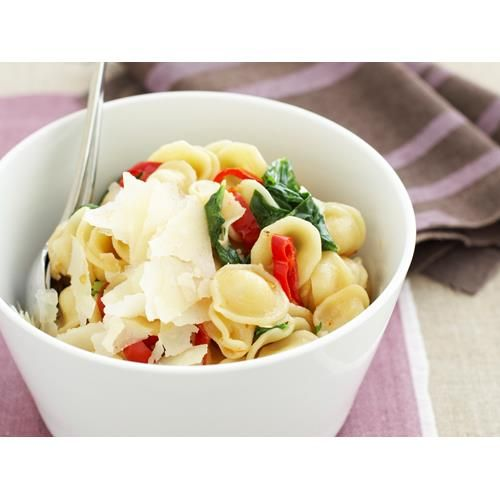 Orecchiette with capsicum, chilli and rocket recipe - By Australian Women's Weekly, Whip up a meal for dinner or a quick work lunch in less than 30 minutes with this spicy orecchiette pasta recipe.