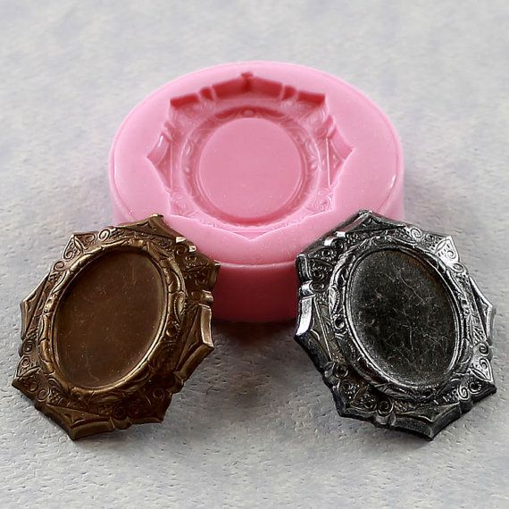 Cabochon Setting Frame Mold for 18mm Cameo Resin Mold Polymer Clay mold (285)