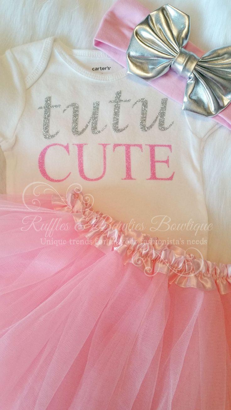 Tutu Cute Pink & Silver Infant Glitter Onsie
