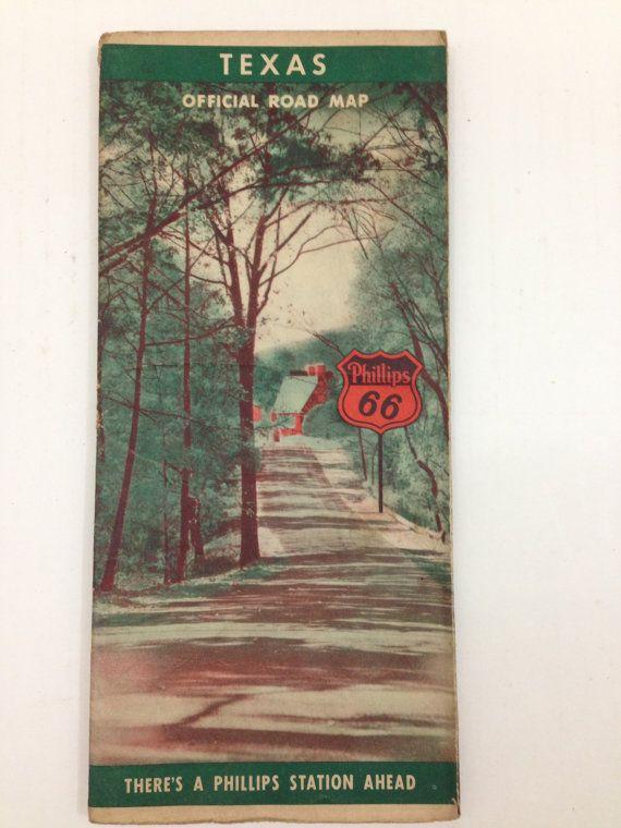 1941 Texas Road Map Phillips 66 by TheTravelingTortoise on Etsy