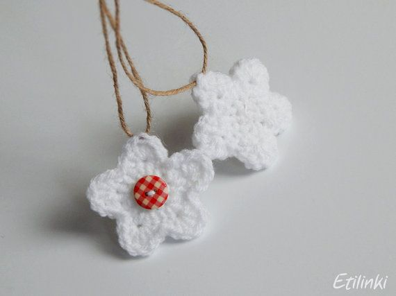 Crochet winter flower. Rustic ornaments. Cottage Christmas ornament. White…