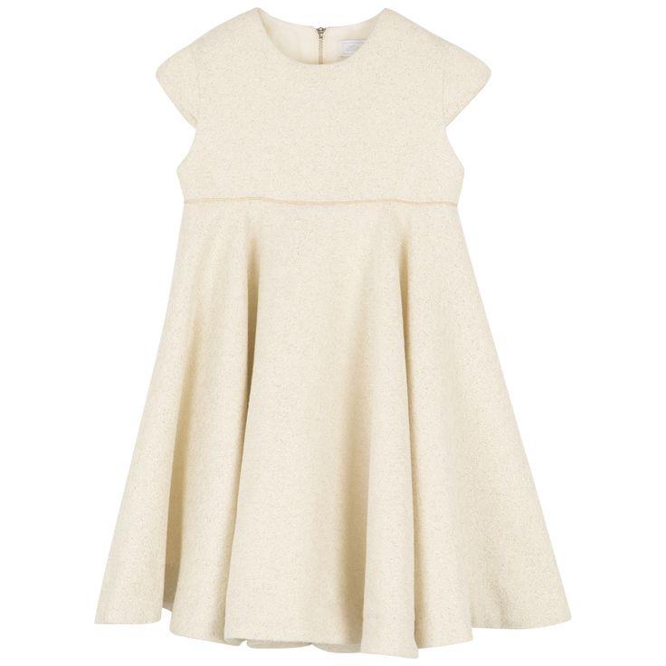 Jacquard lurex pearly white dress  #outfit #FW15 #fall #winter #kidsfashion #dress #white