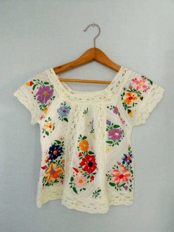 Vintage embroidered shirt senorita mexico bohemian boho