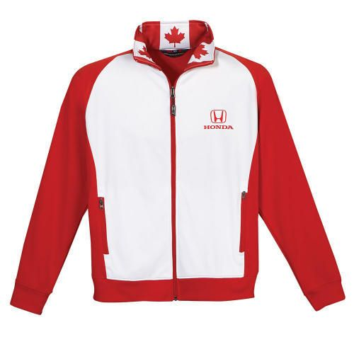 Honda Canadiana Jacket.  This custom, Made in Canada, eco jacket is a blend of recycled and virgin polyesters. Derived in part from post-industrial and post-consumer goods that might otherwise end up in a landfill. It is durable, colour-fast, anti-shrink, anti-fade, highly breathable, anti-wrinkle, and easy to care for. Honda logo printed in red on left chest and upper back.