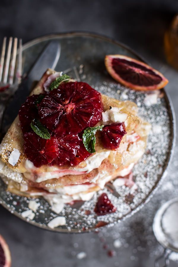 Coconut Honey Crepes with Whipped Mascarpone + Blood Orange Compote | halfbakedharvest.com