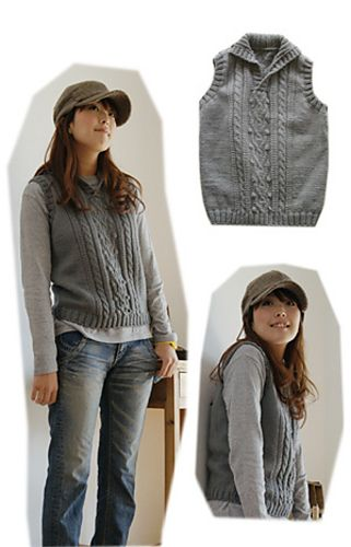 Aran Vest pattern by Pierrot (Gosyo Co., Ltd) on Ravelry and is a FREE download. Knitted in DK 8ply