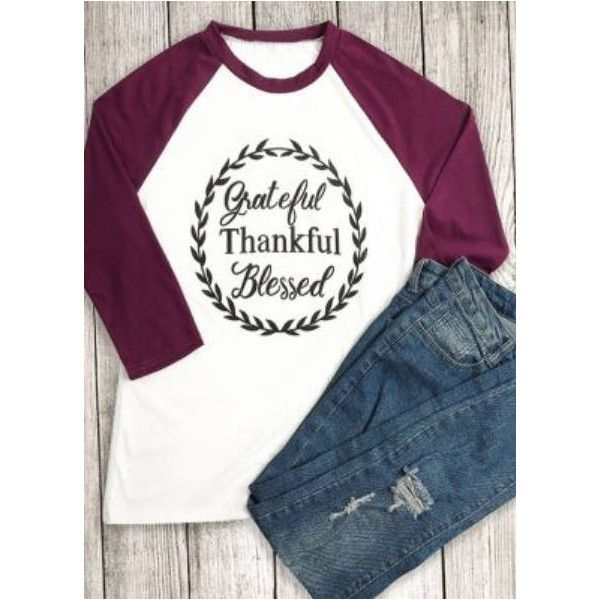 Grateful Thankful Blessed Raglan Cute Fall Shirt Fall Raglan... ($20) ❤ liked on Polyvore featuring tops, t-shirts, maroon, women's clothing, monogrammed raglan shirts, monogram raglan tee, maroon shirt, raglan tees and neon shirt