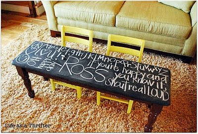 Chalkboard table: this would be very cool for a college apartment or families with small kids!