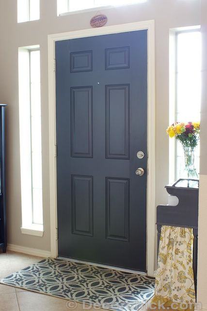 Painted black interior doors before and after october for Black interior paint