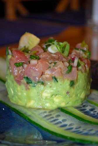 Ahi Tuna Tartare Tower... this was the best i've ever made! i even made sashimi and poured the sauce on top YUM!