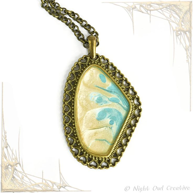 Hand Painted Pendant- Necklace - Cream - Turquoise - Antique Bronze Finish Bezel with Hearts - Crystal Clear Resin - OOAK - Unique Piece by NightOwlCreative on Etsy