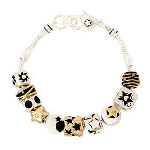 Sun Star Moon Charm Bracelet C45 Murano Beads Gold Silver... www.amazon.com/...