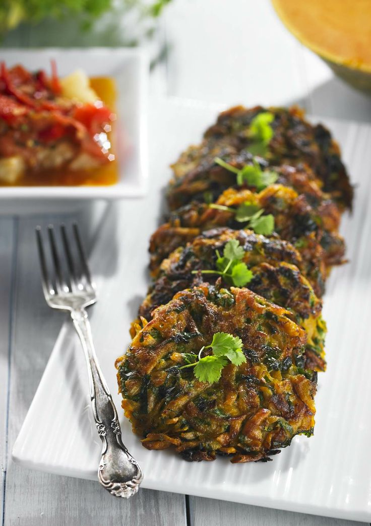 """Pumpkin and Kumara Fritters   These fritters could be called """"vision fritters"""" as they contain two good sources of beta-carotene, which the body converts into Vitamin A, vital for eye health. Rice can be substituted for spelt to make these fritters gluten-free.   www.drlibby.com"""