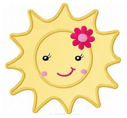 Sunshine applique summer sun machine embroidery by FunStitch, $2.00