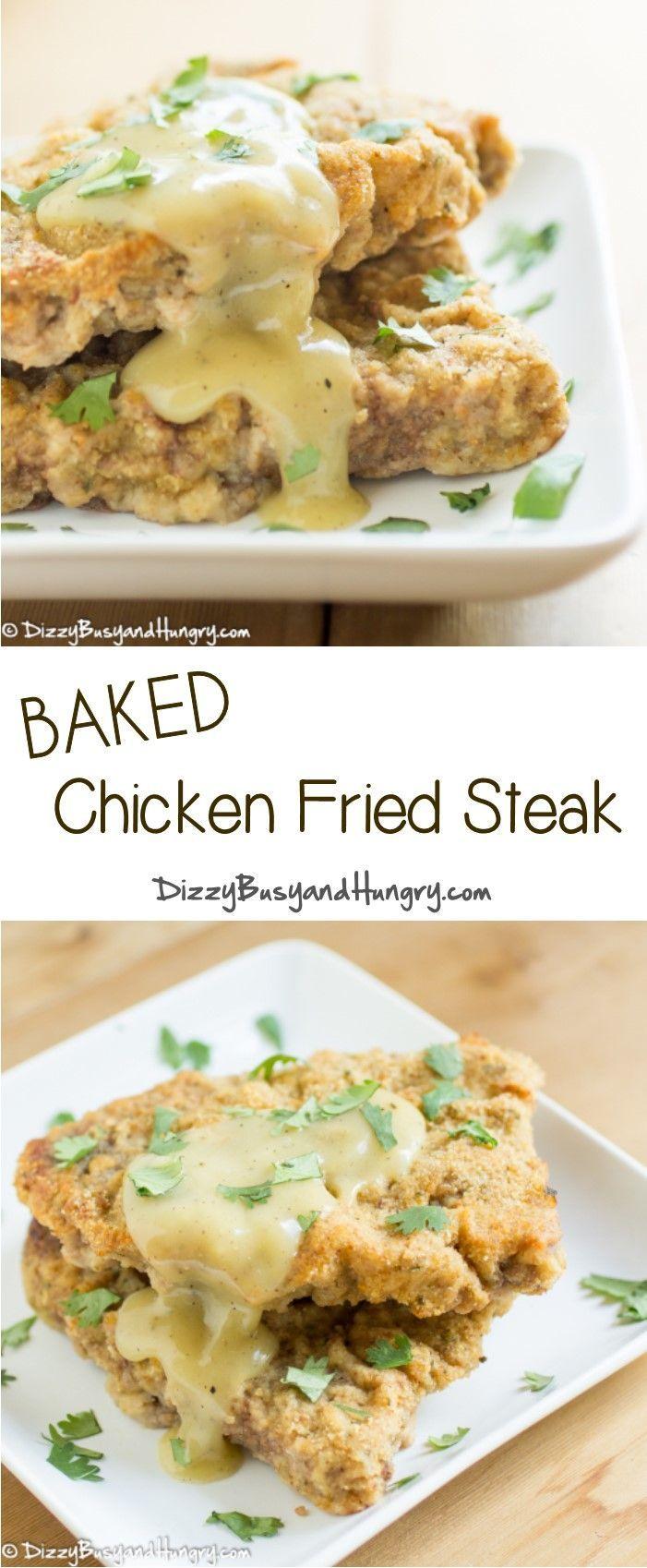 Baked Chicken Fried Steak #SundaySupper http://www.dizzybusyandhungry.com/baked-chicken-fried-steak/