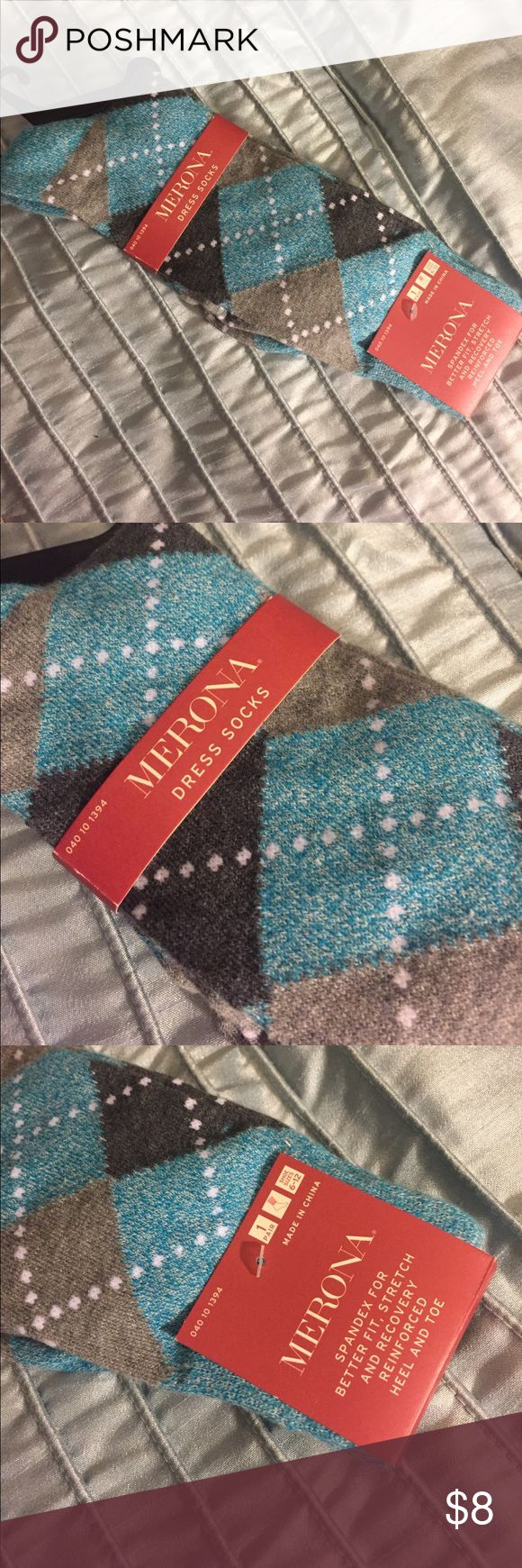 Men's dress socks NWT I bought my husband this pair of socks...twice! And waited too long to return them. NWT. Size 6-12. Nice blue and grey pattern. Offers welcome. Merona Underwear & Socks Dress Socks