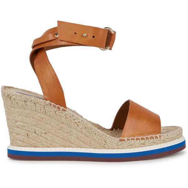 Stella McCartney Brown espadrille wedge sandals (8.190 ARS) ❤ liked on Polyvore featuring shoes, sandals, strappy wedge sandals, platform espadrilles, strappy platform sandals, platform shoes and strap sandals