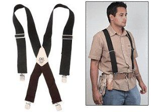 "CRL Tool Belt Suspenders by CR Laurence by CR Laurence. $24.01. Makes Heavy Tool Belts Easy to Wear All Day One Size Fits All Extra Heavy-Duty Materials These extra-wide CRL Tool Belt Suspenders hold heavy tool bags and aprons off your hips and lower back, easing strain. They feature heavy-duty 2"" (51 mm) wide, fully adjustable front straps, elastic rear straps, and nickel plated hardware. One size fits all."