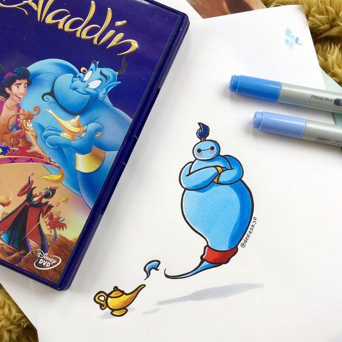 Demetria Skye criou várias ilustrações em que Baymax ocupa o lugar de diversos personagens da Disney!