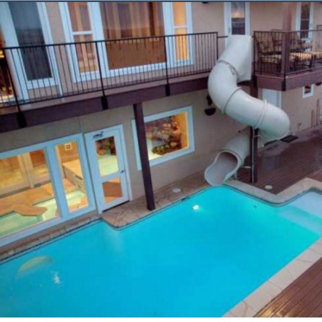 Cool Swimming Pools With Slides Indoor Photo