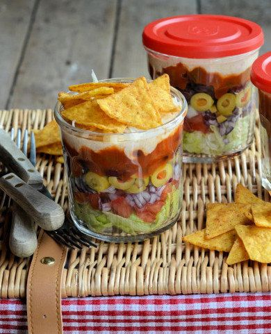 Recipe for Layered Picnic Salads in a Jar