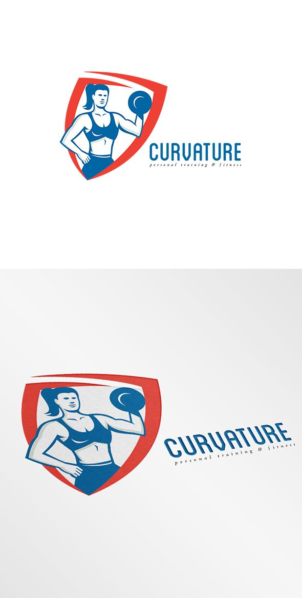 Curvature Personal Trainer Logo. Logo showing illustration of a female personal trainer fitness professional bodybuilder lifting dumbbell flexing muscles viewed from front set inside shield